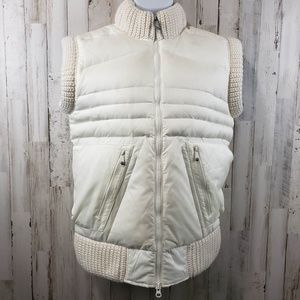 Lithic Womens Vest Cream Knit Trim Full Zip Three